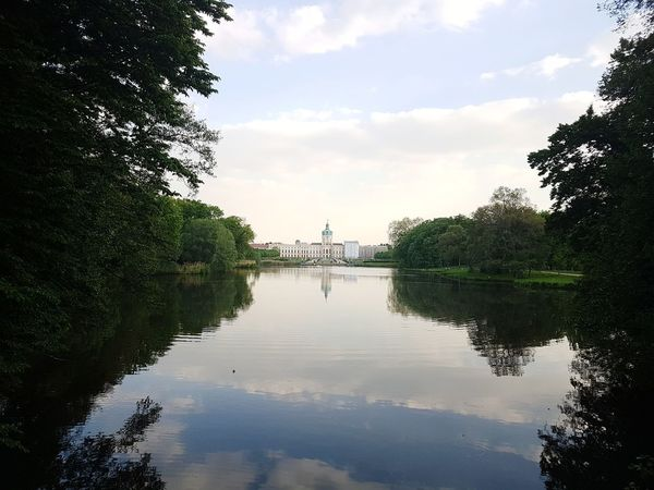 Schloss Charlottenburg Berlin View From Bridge Reflection Of Castle And Clouds City Park Berlin View Over The Lake Afternoon Blues Lake Surrounded By Trees Outdoors Tranquility No People No Filter, No Effects
