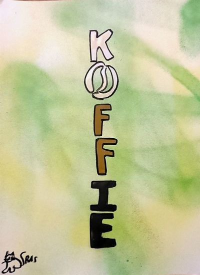 Koffietijd Een Kopje Koffie Coffee Coffee Break No People Close-up Day (c) 2016 Shangita Bose All Rights Reserved My Impression Snbgraffiti Art Multi Colored From My Point Of View Green Yellow Black Brown White Mocha Handmade For You TypographyArt Typography & Design Typography