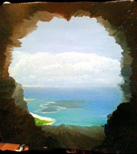 Arniston as seen from one of the rocky beach caves, done in oil on canvas Art Oil Painting Arniston Beach Sandy Beaches
