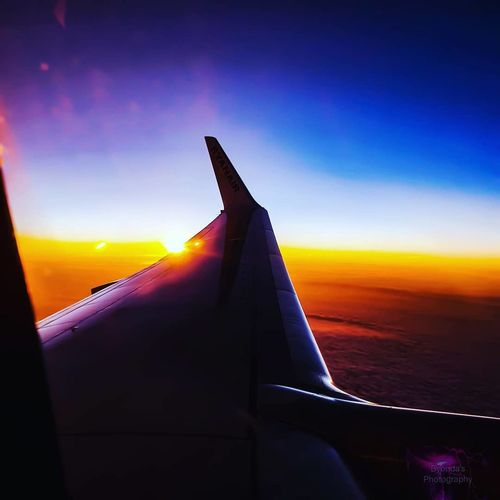 Airplane Flying Plane Commercial Airplane Eyesight Sunset Aerospace Industry Air Vehicle Aerial View Horizon