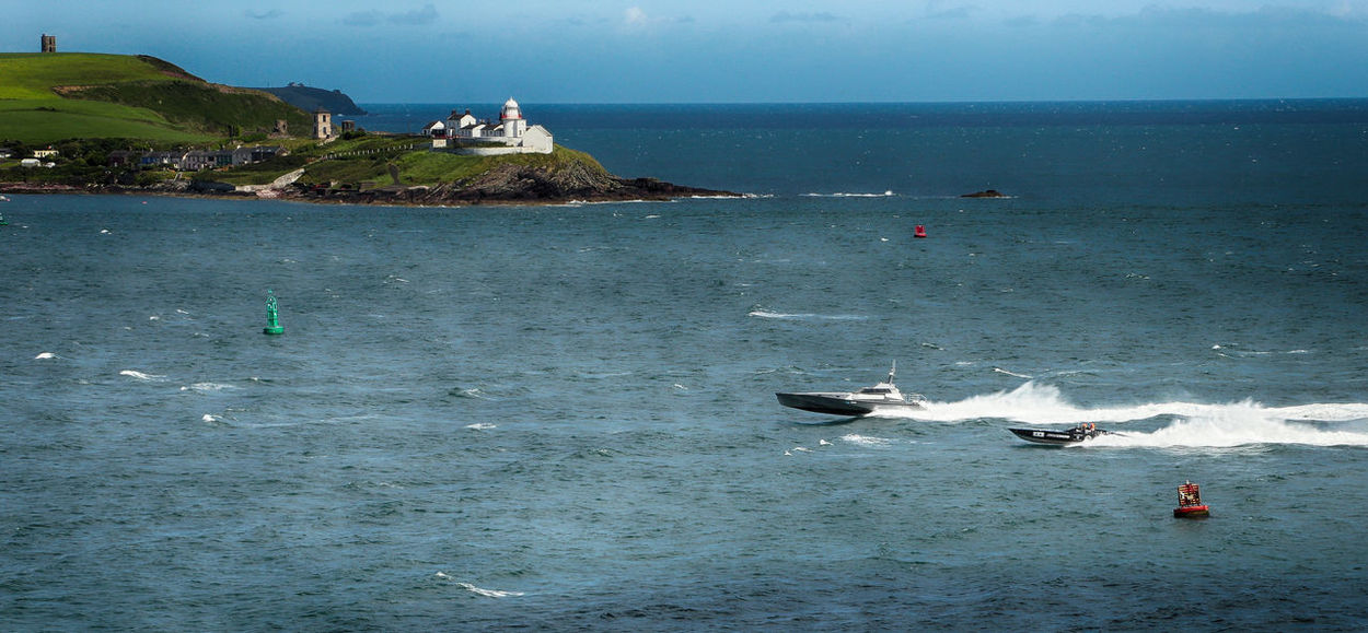 Ocean Powerboats racing Ireland Blue Wave Ireland🍀 Lighthouse Nautical Vessel Powerboat Race Sea Sea And Sky Seascape Speed Water