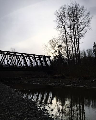 Railroad Bridge over the Dungeness River, Sequim, Washington. PNW Taking Photos IPhoneography Washington State Landscape_photography Iphone6s Reflection_collection ReflectionPerfection! Olympic Peninsula Bridge Railroad Bridge Sequim, WA