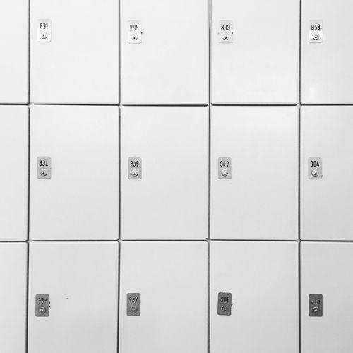 Security Number Safety Protection In A Row Box Locker Schließfach Schließfächer Black & White Blackandwhite