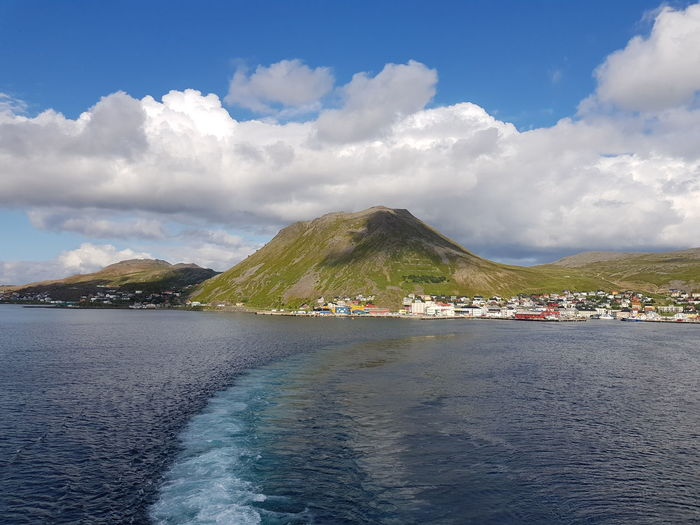 Honningsvag Norway Architecture Beauty In Nature Building Exterior Built Structure City Cloud - Sky Day Mountain Nature Nautical Vessel No People North Cape Outdoors Scenics - Nature Sea Sky Tranquil Scene Tranquility Transportation Water Waterfront