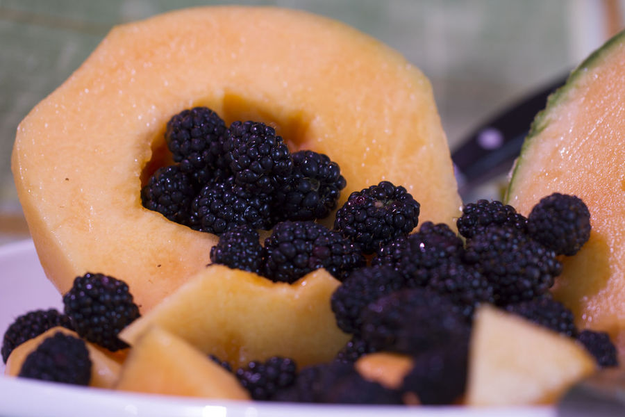 Blackberry - Fruit Blueberry Cantaloup Close-up Day Dessert Focus On Foreground Food Food And Drink Freshness Fruit Indoors  Indulgence Melon No People Ready-to-eat Still Life Sweet Food Temptation Unhealthy Eating