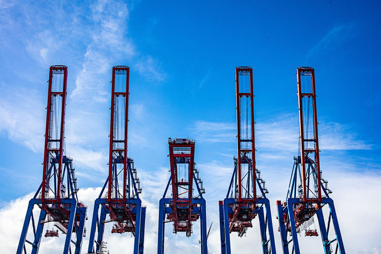 Sky Day No People Cloud - Sky Industry Cold Temperature Blue Metal Built Structure Machinery Freight Transportation Outdoor Play Equipment Hamburg Hamburg Harbour Containerbridge ContainerPort Container Port Container