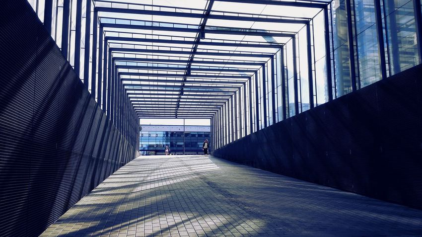 The Way Forward Architecture Finland Helsinki City Modern Life Huawei Honor Tunnel Loneliness Glass Terrence Malick Minimalism Blue