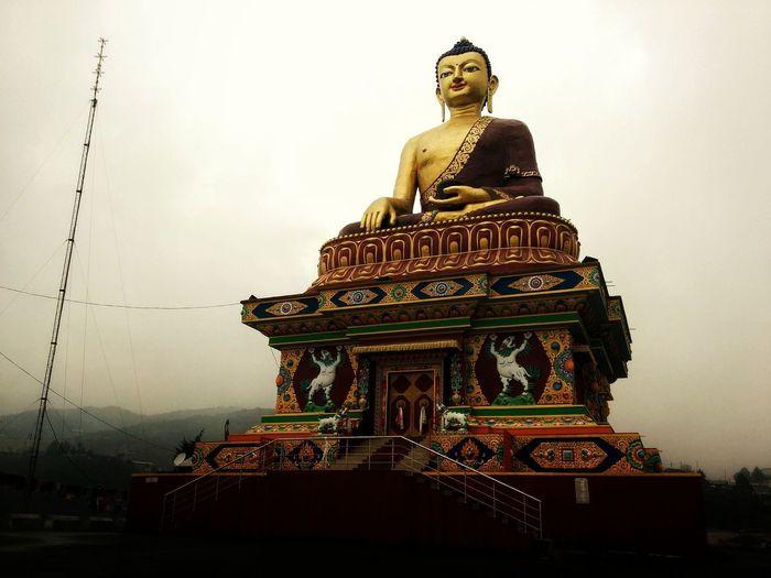 Buddham Sarnam Gacchami... Gold Architecture Religion Gold Colored No People Statue Sky Day Overcast Skies Tawang Arunachal Pradesh India Tranquility Buddha Statue Buddha Buddhism EyeEm Best Shots Still Mobilephotography Low Angle View