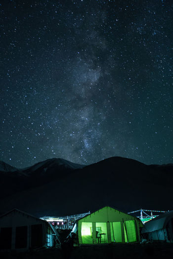 Architecture Astronomy Beauty In Nature Building Building Exterior Built Structure Galaxy House Illuminated Mountain Nature Night No People Scenics - Nature Silhouette Sky Space Star Star - Space Star Field