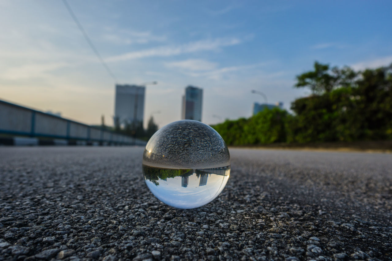 crystal ball, no people, close-up, sky, day, built structure, outdoors, architecture, water, tree