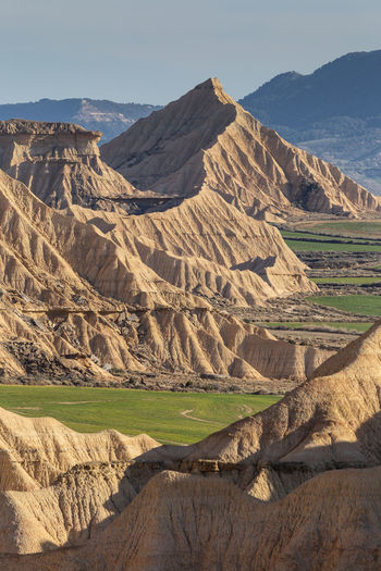 Scenic view of landscape against sky. bardenas reales. spain