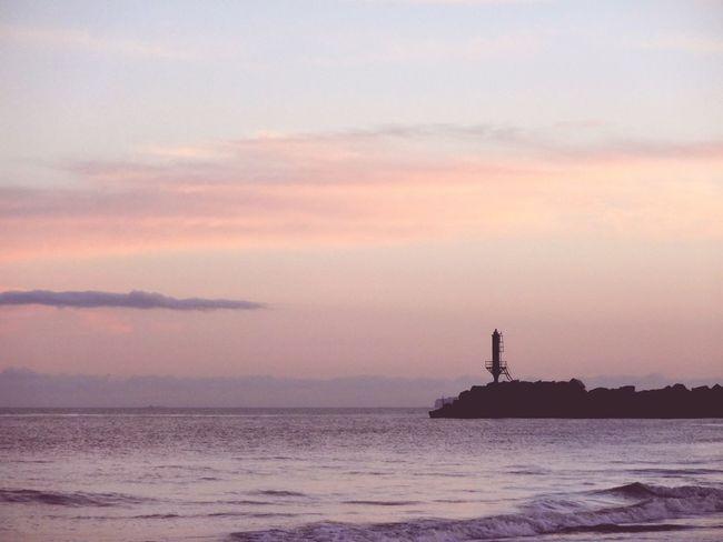 'Distance' Tower Sunset Pink Skys Coast Sea -- B