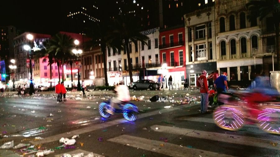 The aftermath of a Mardi Gras parade! NOLA New Orleans Mardi Gras Mardi Gras Parade  After A Parade Street Lights Motion Night City Outdoors Canal Street Travel Photography Travel Addicted Cranival After Party Louisiana