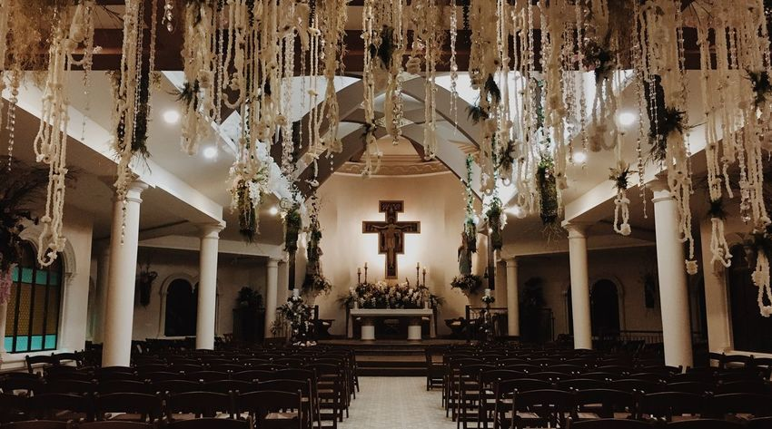 Solemnity Aisle Chapel Church Catholic Religion Place Of Worship Spirituality Indoors  No People Architectural Column Statue Altar