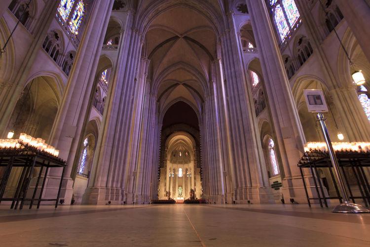 Interior of illuminated corridor