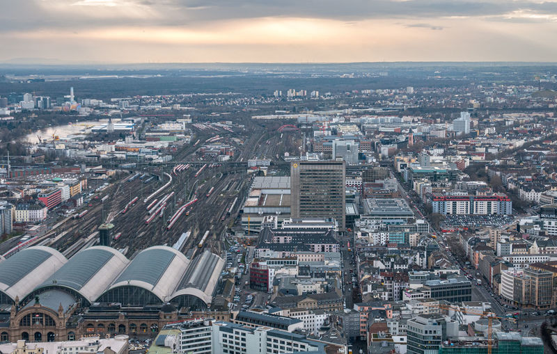Panoramic view of the cityscape of the city of frankfurt the financial centre of germany europe