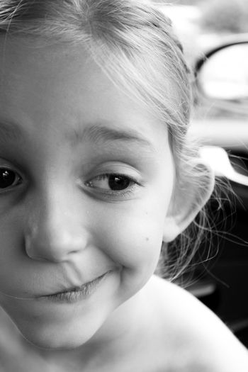 Black And White Blond Hair Childhood Close-up Face Expression Girl Headshot Lifestyles Portrait Real People Thinking Thoughtful