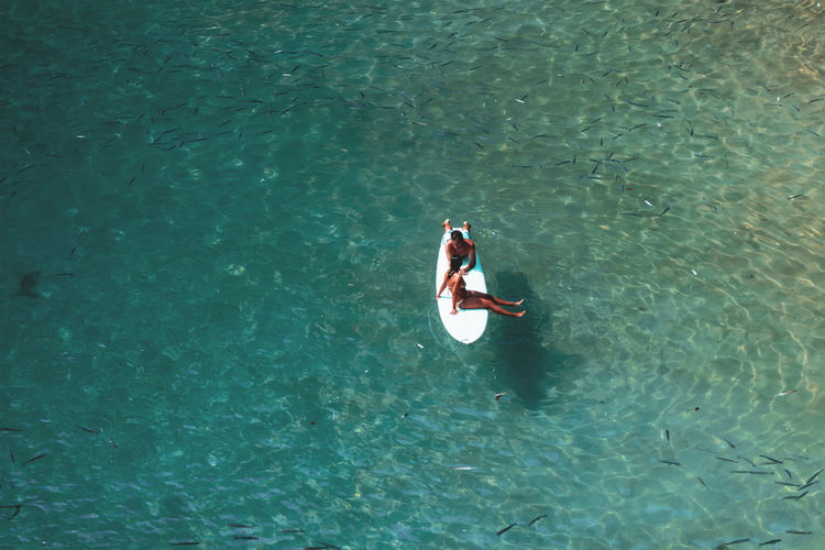 High angle view of couple swimming in sea