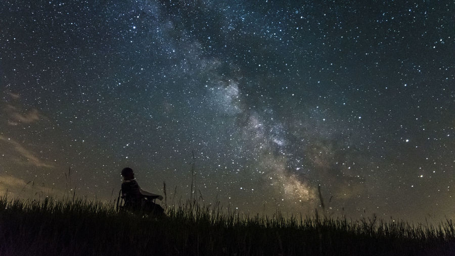 Astronomy Beauty In Nature Dark Discovery Exploration Field Grass Idyllic Infinity Landscape Leisure Activity Lifestyles Nature Night Non-urban Scene Outdoors Remote Scenics Sky Space Tranquil Scene Tranquility Unrecognizable Person