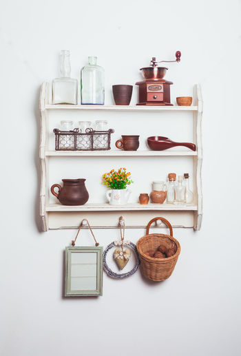 View of food on table against white background