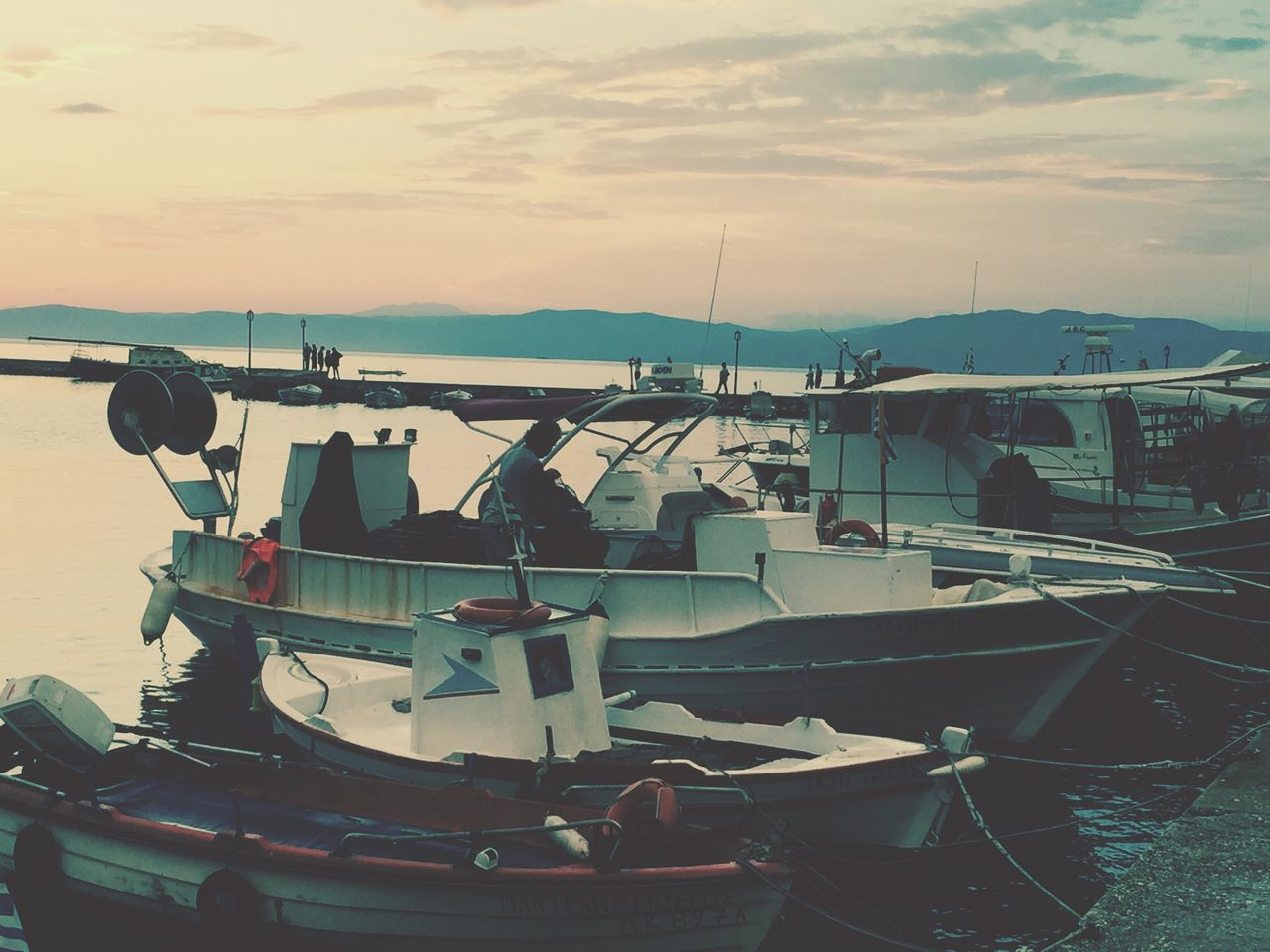 nautical vessel, sea, sky, moored, water, outdoors, sunset, transportation, no people, nature, yacht, harbor, day