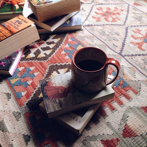 Morning Coffee Black Coffee Books Bookworm Teppich Home Details Of My Life Reading Carpet Handmade