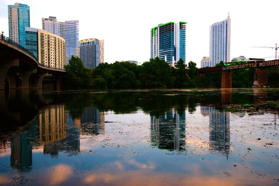 Austin Texas Water Reflection Water Reflections City Lake Austin Buildings Sky And City