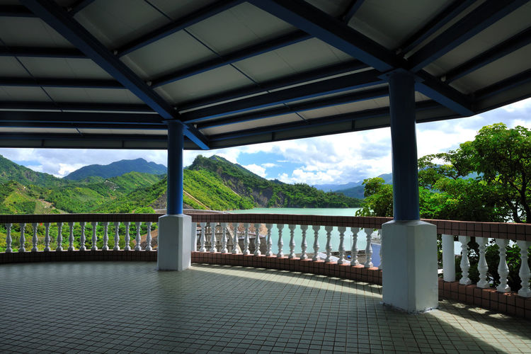 Reservoir landmark landscape, beautiful scenery. Gazebo High Water Source Architectural Column Architecture Beauty In Nature Bridge - Man Made Structure Built Structure Day In Stockholm Indoors  Landmark Mountain Mountain Range Nature No People Observation Deck Railing Reservoir Save Scenics Sky Tree Water Water Resources
