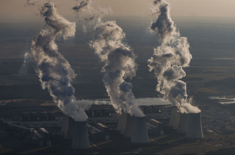 Aerial View Of Industrial Smoke Stacks