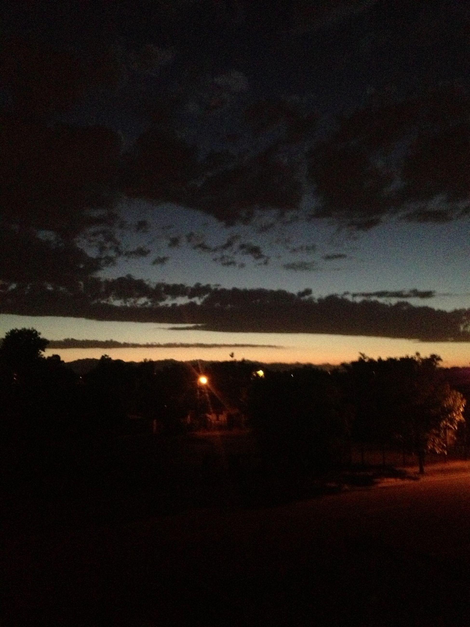 sky, silhouette, sunset, scenics, tranquil scene, tree, tranquility, beauty in nature, landscape, cloud - sky, dark, night, nature, dusk, illuminated, idyllic, outdoors, cloud, no people, non-urban scene