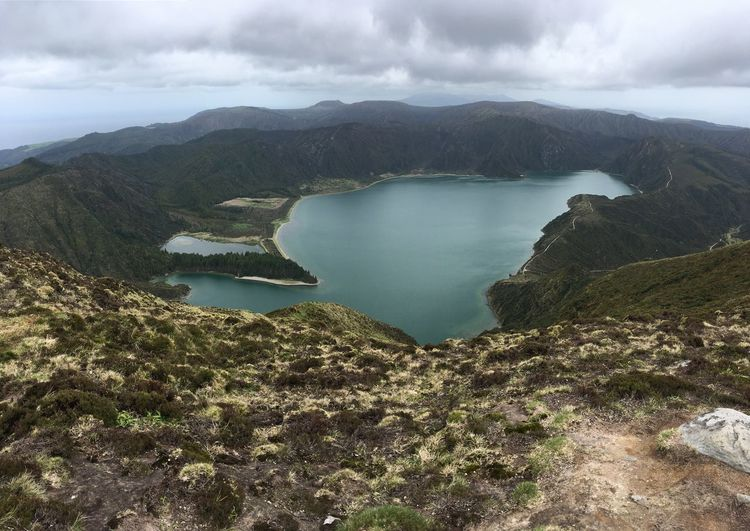 Scenics - Nature Beauty In Nature Mountain Tranquil Scene Water Sky Tranquility Cloud - Sky Environment Nature Non-urban Scene No People Landscape Lake Day Mountain Range Idyllic Outdoors Land Lagoon Volcanic Crater Azores Portugal Sao Miguel Fire Drone  Dronephotography Drone Photography Droneshot DJI X Eyeem DJI Mavic Air