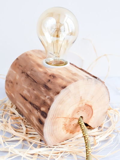 Bedside Lamp DIY Edison Edison Bulb Tree Bark Wood Close-up Diy Lamp Electric Light Etsy Handmade Lamp Light And Shadow No People Studio Shot Technology Texture White Background Wood - Material Woodworking