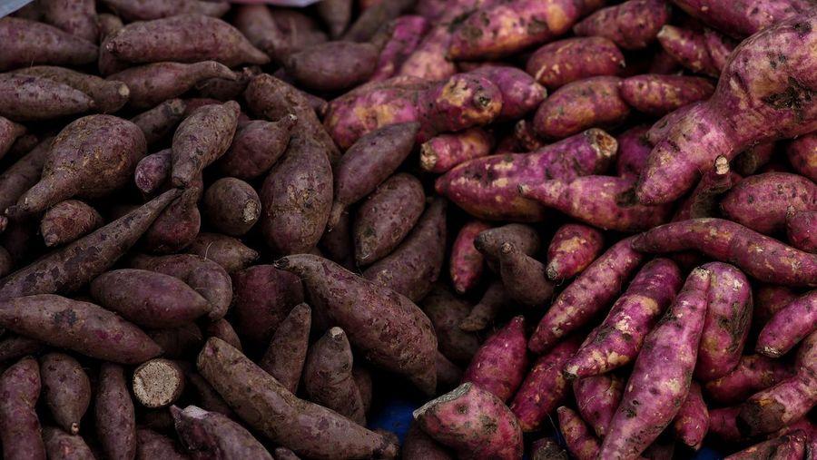 Full frame shot of sweet potatos