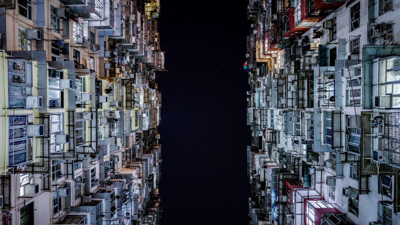 Directly below shot of buildings at night