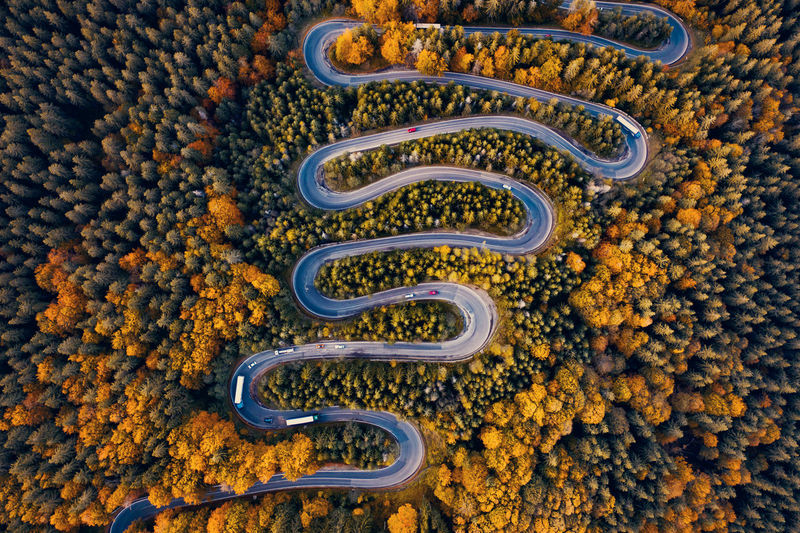 High angle view of yellow and orange leaf on railroad track