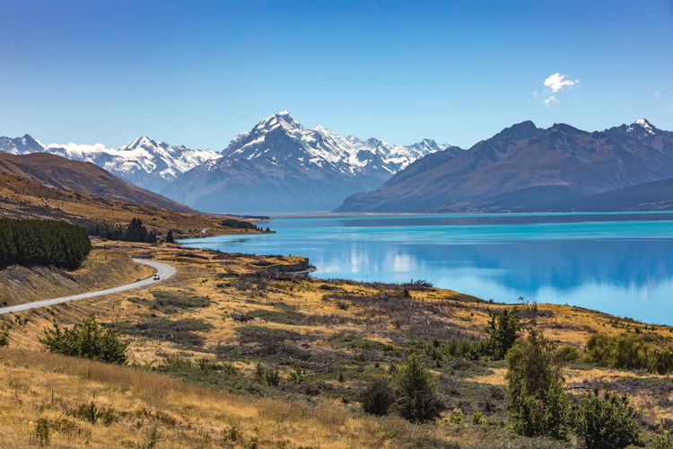 Roadtrippin' EyeEmNewHere Mt. Cook Road Travel Photography Beauty In Nature Blue Cold Temperature Day Lake Landscape Mountain Mountain Range Nature Newzealand No People Outdoors Roadtrip Scenics Sky Snow Tranquil Scene Tranquility Water