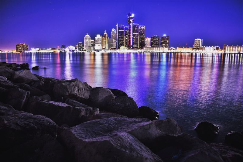 Detroit River Night Built Structure Water City Illuminated Urban Skyline Travel Destinations Outdoors Sky Cityscape No People Nature Modern Detroit Windsor Cloud - Sky Tranquility Scenics River Waterfront