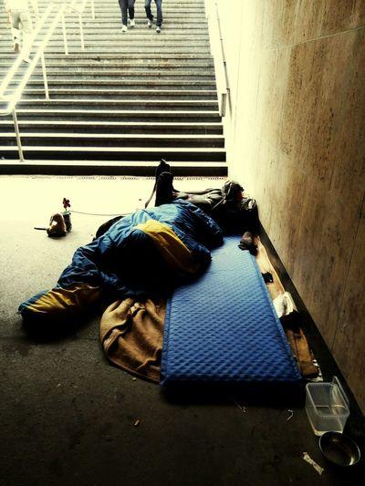 Homeless Obdachlos Homelessness  Obdachlosigkeit Germany Deutschland Leipzig Unterführung Stiegen Treppen Stairs