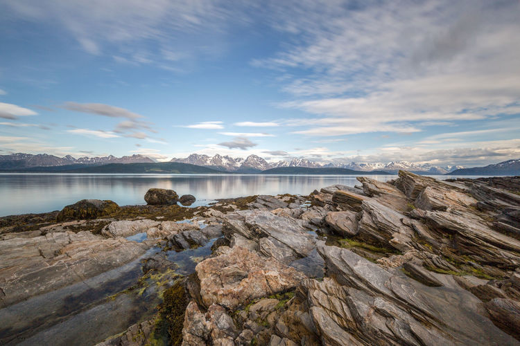 Beauty In Nature Calm Cloud Fjord Idyllic Landscape Long Exposure Lyngen Alps Lyngsalpan Mountain Mountain Range Nature Nice Weather The Great Outdoors - 2017 EyeEm Awards Northern Norway Norway Outdoors Remote Rock Rock - Object Rock Formation Scenics Sky Tranquility Water