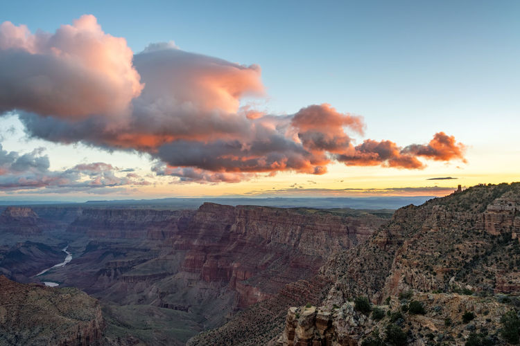 Scenic View Of Eroded Landscape At Grand Canyon National Park During Sunset