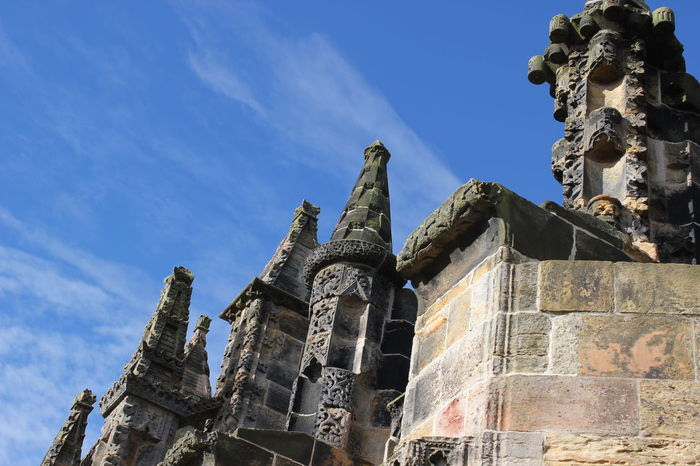 Architecture Building Exterior Built Structure City Cloud - Sky Day Edinburgh History Low Angle View No People Outdoors Place Of Worship Religion Rosslyn Chapel Scotland Sculpture Sky Statue Travel Destinations