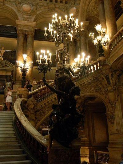Architecture Art Chandelier Illuminated Indoors  Opéra Palais Garnier Paris Sculpture Staircase Travel Destinations