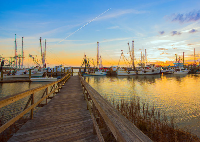 Architecture Beauty In Nature Bridge - Man Made Structure City Commercial Dock Day Harbor Nature Nautical Vessel No People Outdoors Pier River Shrimp Boats Sky Sunset Water