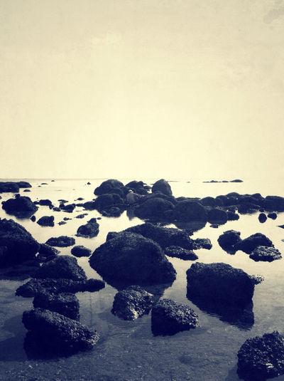 #beach#blackandwhite#rock#sea#sand#sun#nature#sky