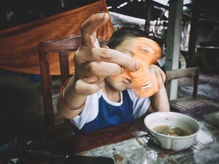 IPhoneography Snapseed RNI Film App One Person Real People Table Human Hand Close-up Food Selective Focus Fingers Spin Playing Children Boy Fun Photography