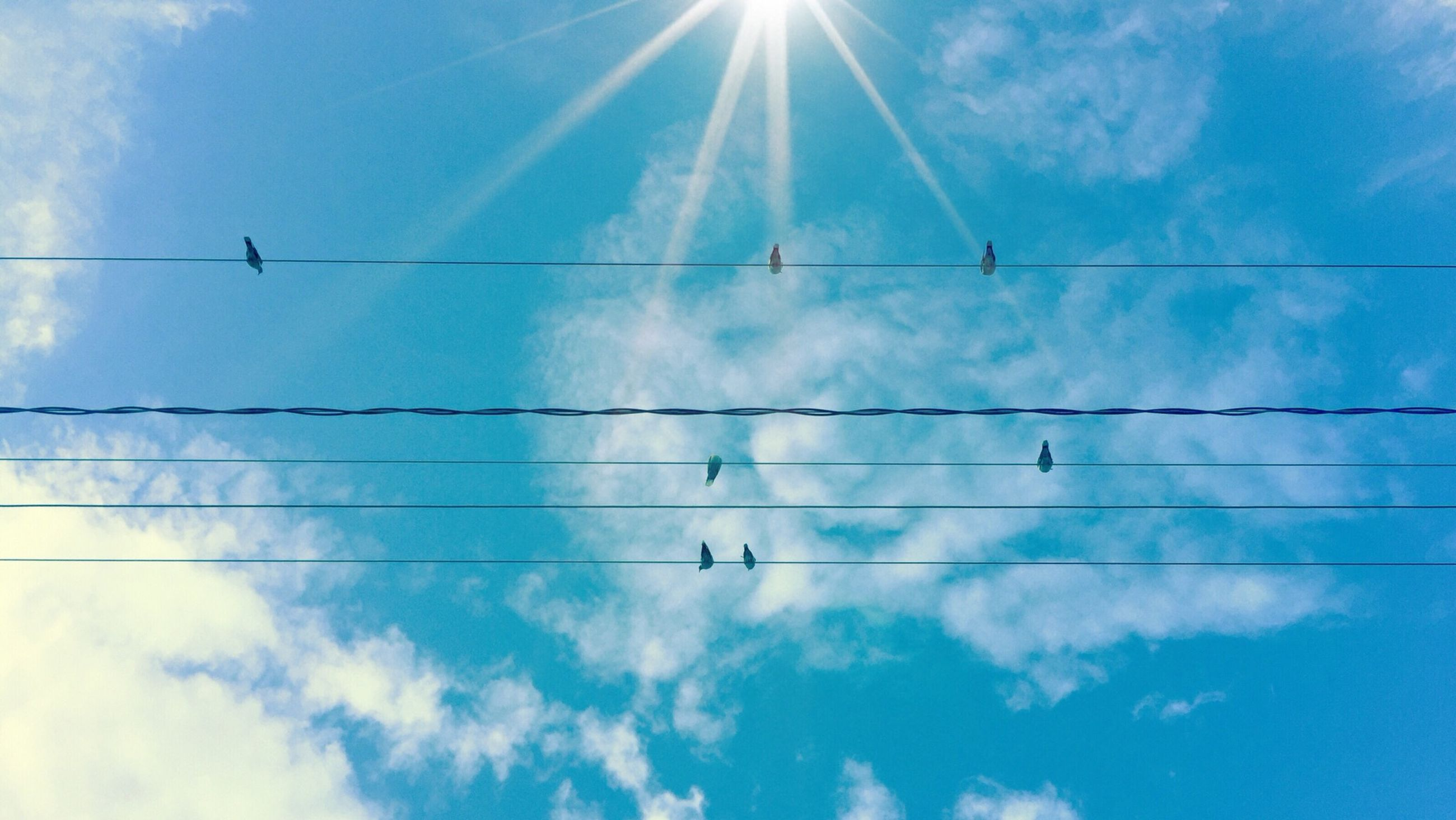 low angle view, sky, power line, cable, blue, cloud - sky, electricity, connection, power supply, cloud, electricity pylon, sun, fuel and power generation, cloudy, nature, technology, power cable, vapor trail, sunlight, beauty in nature