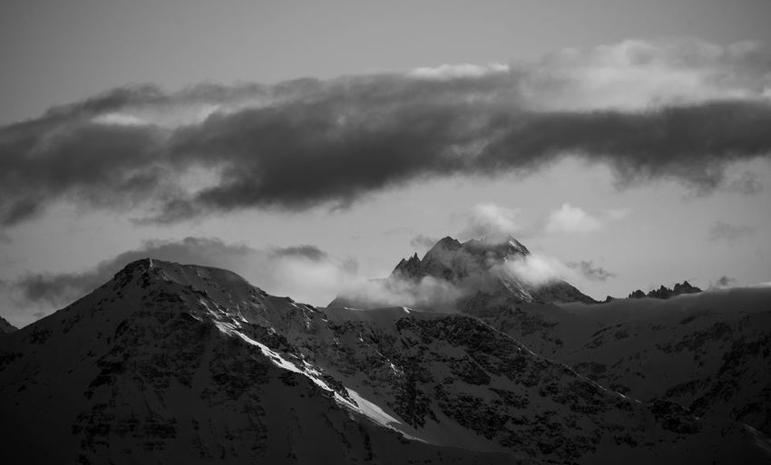 swiss mountains in the evening light Evening Swiss Mountains Switzerland Alps Swiss Alps Mountain Black And White Black & White Blackandwhite EyeEmNewHere EyeEm Best Shots Nature Mountain Snow Snowcapped Mountain Sky Landscape Mountain Range Cloud - Sky Majestic Mountain Peak Dramatic Landscape Go Higher This Is Queer The Great Outdoors - 2018 EyeEm Awards HUAWEI Photo Award: After Dark