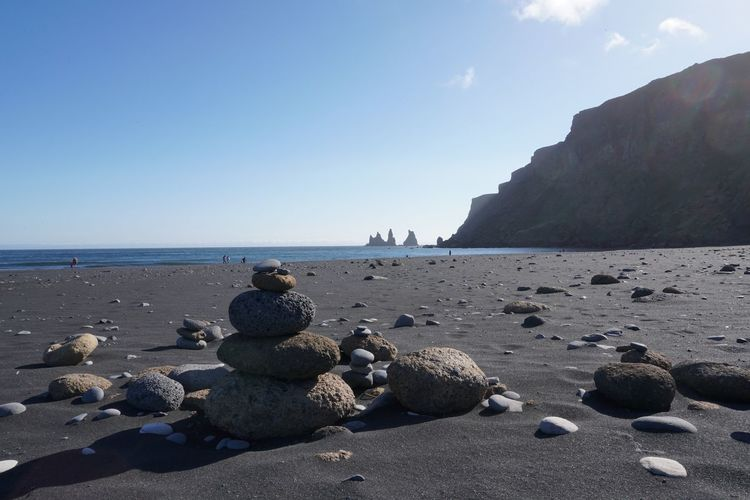 Vik Iceland Beach Beauty In Nature Black Rock Beach Day Horizon Over Water Nature No People Outdoors Pebble Pebble Beach Rock - Object Rocks Sand Scenics Sea Shore Sky South Iceland Sunlight Tranquil Scene Tranquility Water