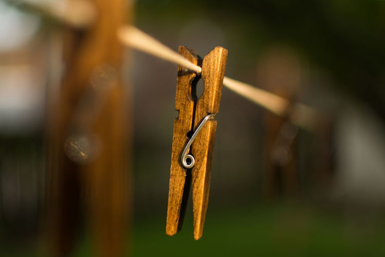 Close-up of clothespins hanging on wood