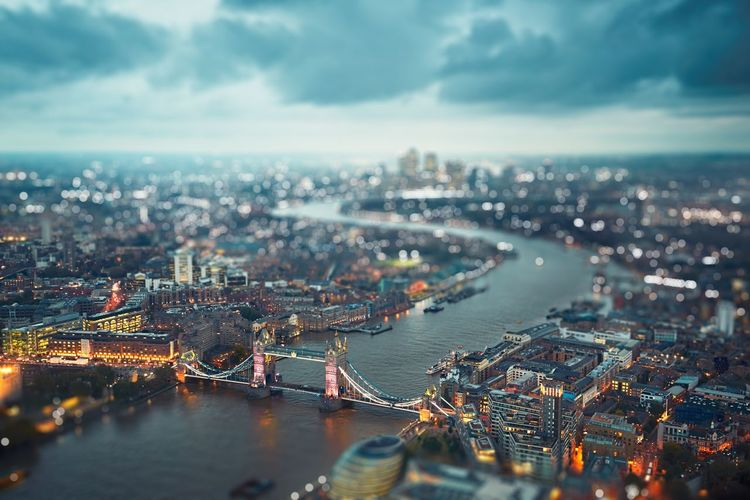 High angle view of illuminated london cityscape
